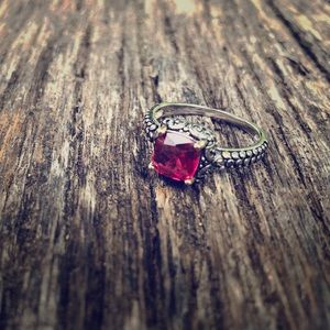 Jewelry - Sterling silver and Ruby red vintage inspired ring